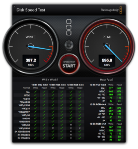 BlackMagic Disk Speed Test on Mac Pro 2008