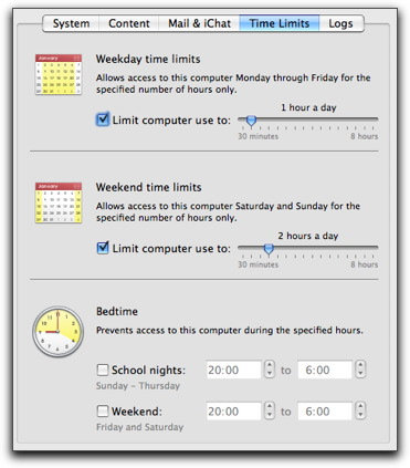 Hours per day setting