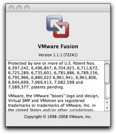VMware Fusion about