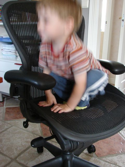 Julian on chair, jumptin
