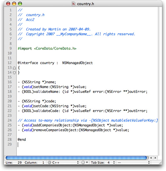 country.h header file in the editor