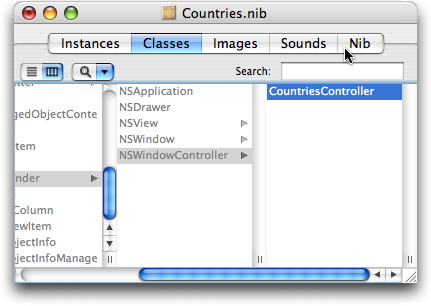 CountriesController class in Classes tab