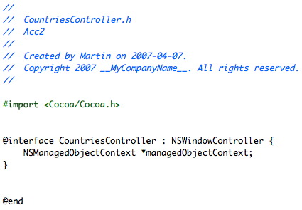 CountriesController header file.