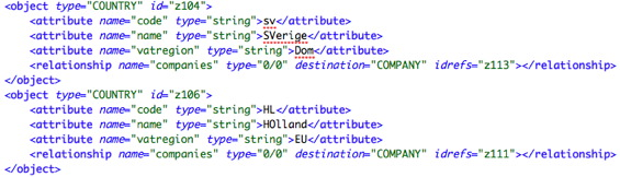 XML data after changing VAT regions to string