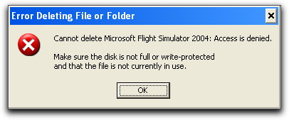 Error message saying
