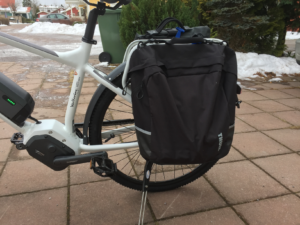 Pannier on left side of bike.